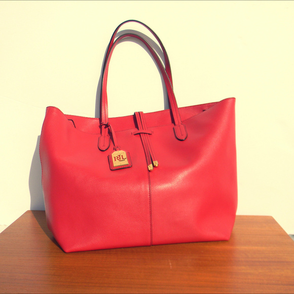 Lauren Ralph Lauren Bags   Rll Lauren Ralph Red Leather Handbag ... f8591e7246